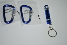 Blue Small Key Chain Flashlight  & Aluminum Key Holder Lot of 3