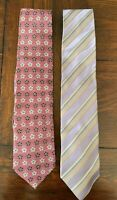 Men's ERMENEGILDO ZEGNA Silk Neck Ties Made in Italy Flowers Stripes Set of 2
