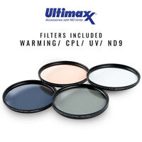 4 Piece 95mm Multi Coated HD Filter Kit (UV, CPL, Warming, ND9) by ULTIMAXX