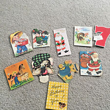 Antique LOT 10 ASSORTED Cards 1940-1950s Christmas Birthday Easter Valentines