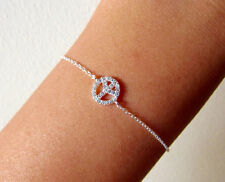 Crystal Peace Sign Bracelet Gold Chain Boho Bohemian Jewellery Gift For Her A200