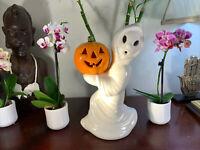 "Halloween Vintage Ceramic Ghost with Pumpkin Jack O Lantern 12"" Light Up RARE"