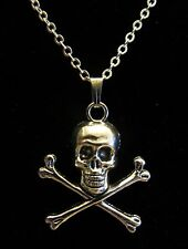"18"" Inch 925 Sterling Silver Chain Skull and Crossbones Charm / Pendant Necklace"