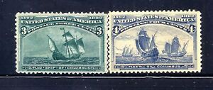US Stamps  - #232-233 - MNG - 3+4 cent 1893 Columbian Expo Issues - CV  $85