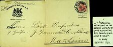 GERMANY 1910 PRE WWI 10pf W/ SPECIAL PRINT FOR ROSENGART & WOLF PS TO MANNHEIM