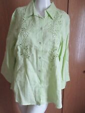 NEW W TAG APPRAISAL LIME GREEN EMBROIDERED EYELETS BUTTON DOWN SHIRT SZ XL