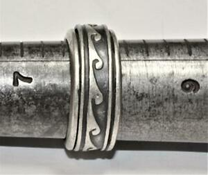 Stamped 925 Sterling Oxidized OCEAN WAVE Design Rolling Band Ring Sz 8 9.81g 9mm