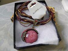 Red Cat's Eye Medallion Rhinestone Pendant Necklace