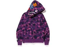 BAPE Color Camo Shark Full Zip Hoodie Purple 2XL a bathing ape 1E30115008