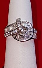 Silver Ring with zirconia stones. Size 6 NEW, STERLING