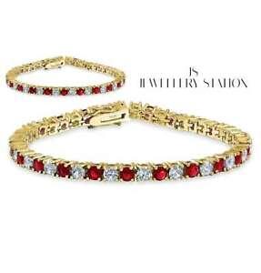 yellow gold finish round cut created diamond and ruby bracelet womens jewellery