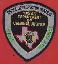 TEXAS DEPARTMENT. OF CRIMINAL JUSTICE  INSPECTOR GENERAL GANG TASK FORCE PATCH