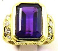 Heavy 18k Gold 7.25ct Emerald Cut Siberian Amethyst .85ct VS Diamond Ring 17.7g