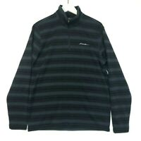 Eddie bauer 1/4 sup pullover sweater grey black striped size medium