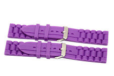 2 PIECES 18MM PURPLE SILICONE JELLY RUBBER SPORT WATCH BAND FITS FOSSIL