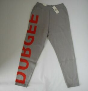 DUBGEE by WHOOPIE Grey LOGO Graphic JOGGERS Sweatpants PANTS Womens MEDIUM NEW