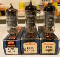 Lot Of 3 NOS NIB MULLARD 6AU6 EF94 Tubes Heath (2) IEC (1) Great Britain New