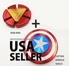 Captain America Shield + Iron Man Fidget Hand Spinner SET USA seller FAST SHIPP