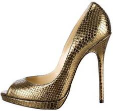 fe513b7ce79 NIB New JIMMY CHOO Metallic Bronze QUIET Snakeskin Print Leather Pumps Shoes