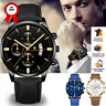 Montre Homme Date Cuir Sport Acier Inoxydable Imperméable Neuf business luxe FR