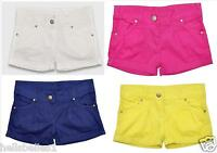 GIRL'S TURN UP 100% COTTON SUMMER FASHION SHORTS WITH ADJUSTABLE WAIST 8-16 YRS