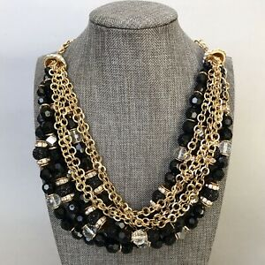 INC Multi Row Torsade Necklace Gold Filled Chain Black Beads Rhinestones Jewelry
