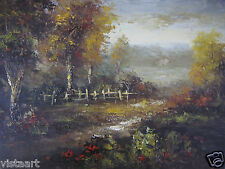 "Oil Painting On Stretched Canvas 12""x16"" ~Pretty Landscape~"