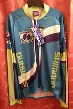 LARGE VINTAGE NWT SHIMANO JERSEY COOLMAX by PACE LIME AQUA PURPLE USA-MADE