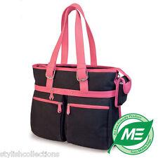 MOBILE EDGE Komen Eco-Friendly Cotton Canvas Laptop Tote Black with Pink Trim NW