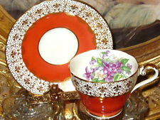 Vintage AYNSLEY GOLD CHINTZ PURPLE VIOLETS ORANGE Tea Cup and Saucer Teacup