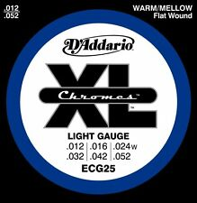 D'Addario ECG-25 XL Chromes Flat Wound Electric Guitar Strings 12-52 light