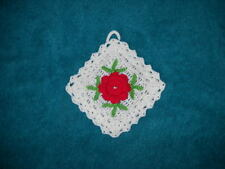 Beautiful Floral Hand Crocheted Hotpad Kitchen Ornament