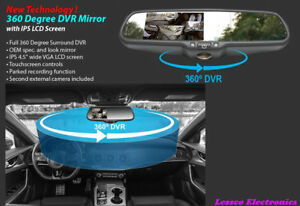 """Accele 360 Drgree DVR Mirror with IPS 4.5"""" wide VGA LCD Screen RVMDVR360"""