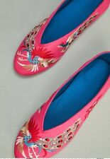 eae0522dd43e NEW Anthropologie Llani X Embellished Satin Ballet Slippers 9 Pink  Embroidered