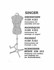 Singer 150-151 Dress Form Mannequin Owners Manual