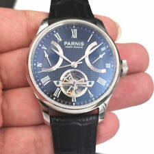 NEW 43mm Parnis Black Dial Power Reserve date Mechanical Automatic men's Watch