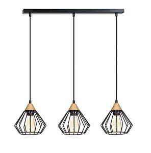 Modern 3 Ceiling Light Metal FRAME Shade Copper BLACK Industrial LOFT Kitchen
