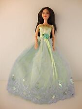 Fun Light Green Ball Gown with Blue Lace Details Made to Fit Barbie Doll