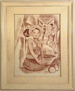 Miguel Covarrubias (1904-1957) Signed Balinese Women Soft Pastel Painting