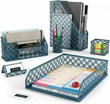 ARTEZA Desk Organizer, Dark Green - 6 Piece Set