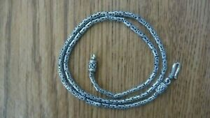 "Vintage Sterling Silver Byzantine Bali Chain Link 18.25"" Necklace 3 mm"