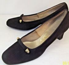 AIR STEP Womens Shoes US 7.5 Black Suede Slip-on Heels Gold Pumps pin up VLV