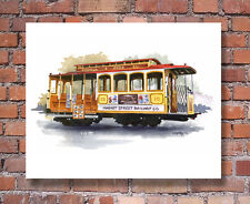 """""""CABLE CAR"""" Watercolor San Francisco ART Print Signed by Artist DJR"""