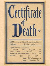 Wizard Of Oz Certificate Of Death Wicked Witch Of The East > Prop/Replica