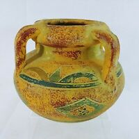"""Vase Planter Pottery Artisan Crafted Hand Painted 4 Handles 6"""""""