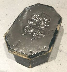 ANTIQUE LEATHER TRINKET BOX-STERLING SILVER CHERUB TOP. J&R GRIFFIN.CHESTER 1907