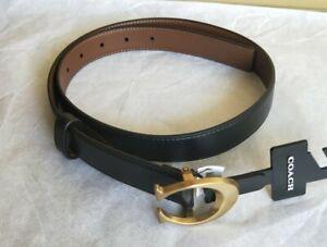 NWT Coach F83960 Signature Buckle Belt 25mm Size M Black Dark Saddle Brown