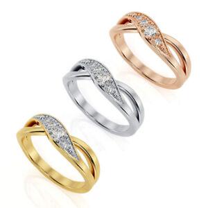 eleganter Ring 925 Silber plattiert mit Zirkonia besetzt Kreuz edel stylisch