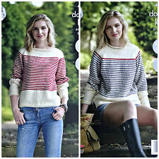 KNITTING PATTERN Ladies Easy Knit Long Sleeve Striped Jumpers DK King Cole 4746