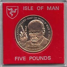 IOM Isle of Man Manx 1995 £5 50th Anniv End of World War II Churchill 1945 cased